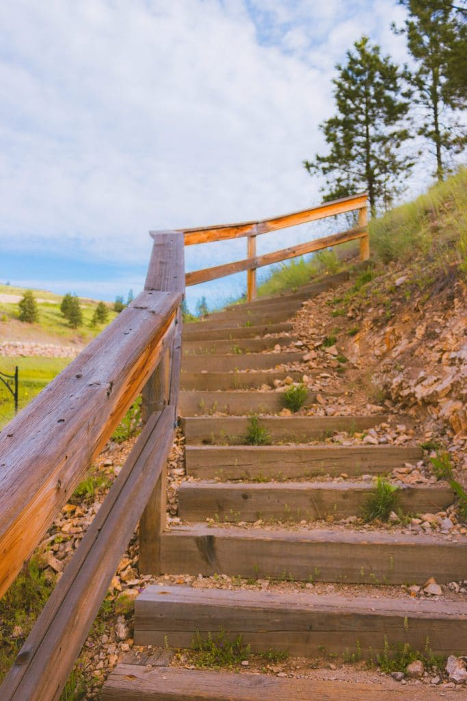 Wooden stairs on the Black Mountain Viewpoint hike in Kelowna, BC