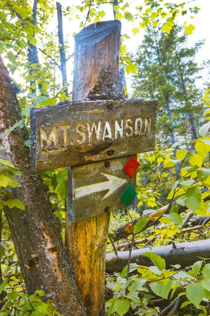 The Mt Swanson trail sign
