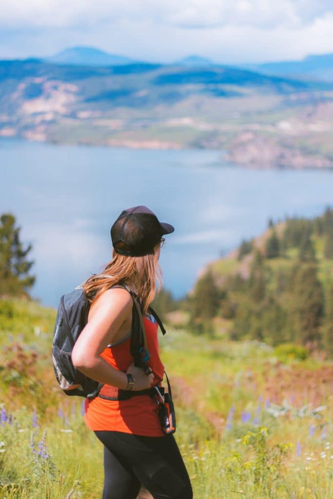 Girl looking at Kalamalka Lake from Lookout Trail in the Provincial Park