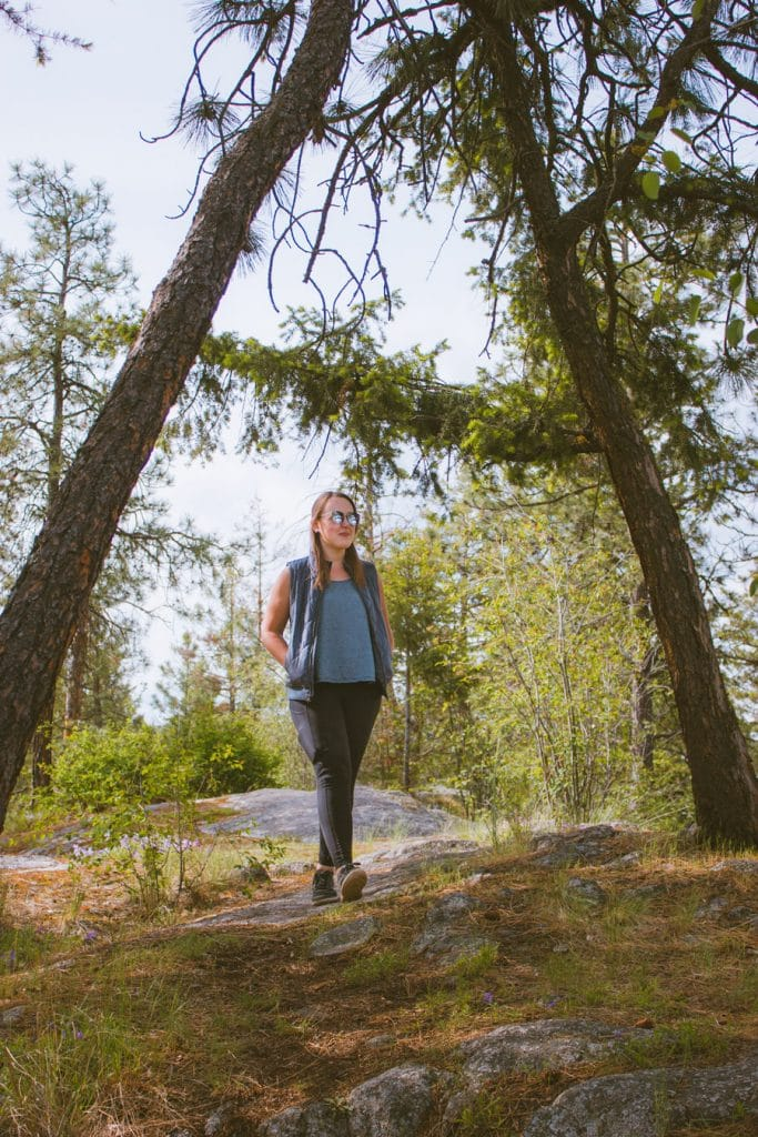 Girl walking on an easy hiking trail at Jack Seaton Park in the Okanagan