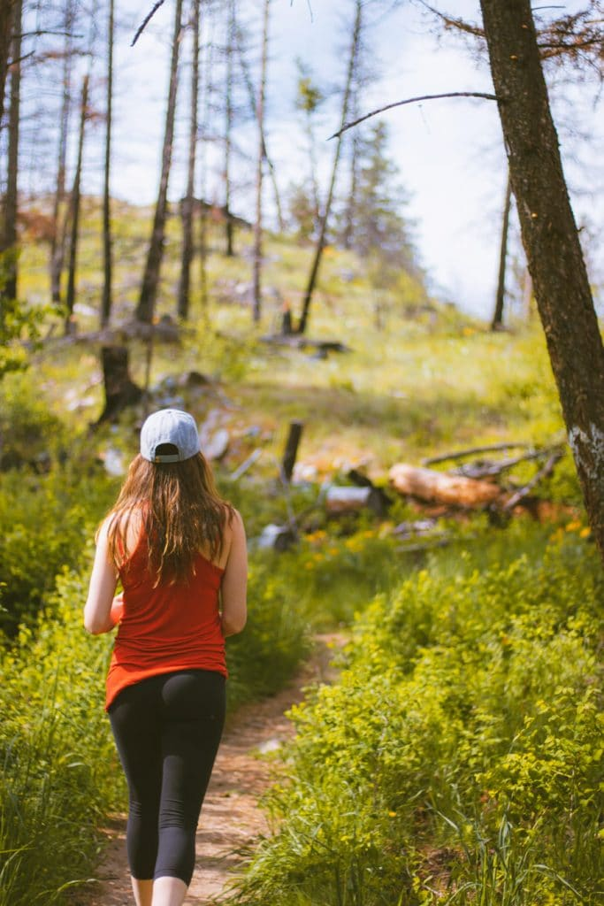 Girl hiking at Jack Seaton Park in Lake Country, BC