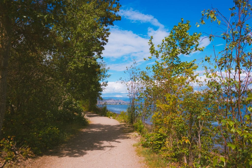 The easy Water Front hiking trail at Kalamoir Regional Park in West Kelowna with views of Okanagan Lake