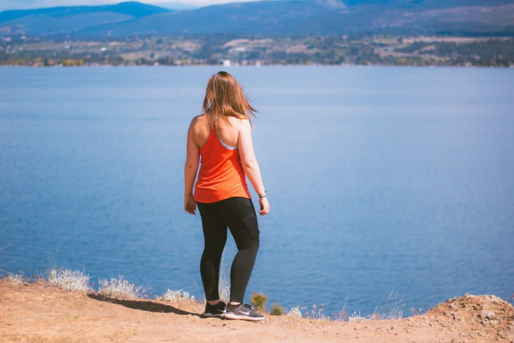 Viewpoint overlooking Okanagan Lake from a hiking trail in West Kelowna