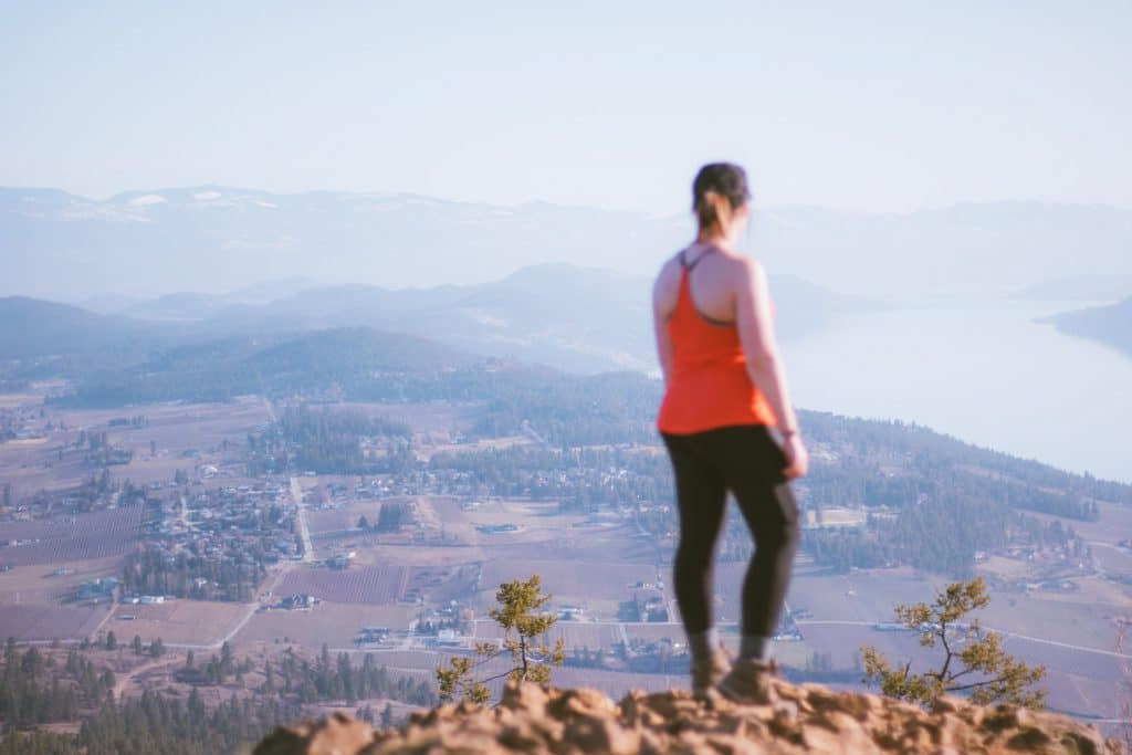 View of Lake Country and Okanagan Lake from the summit of Spion Kop hiking trail