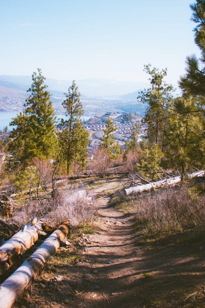 Hiking on the Spion Kop mountain in Lake Country, BC