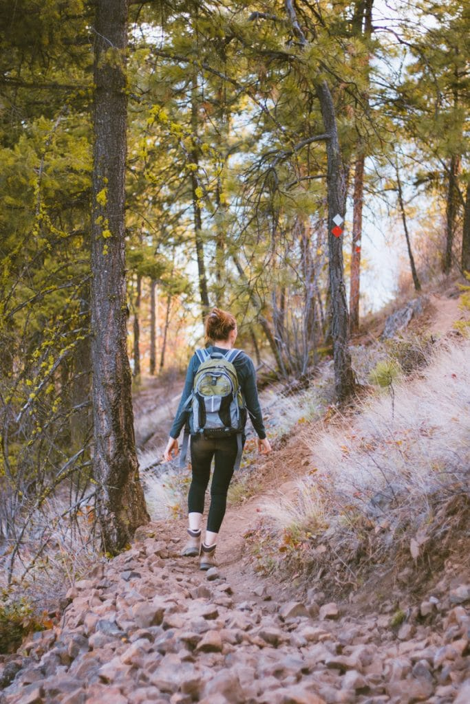 Hiking on a rocky trail in Lake Country