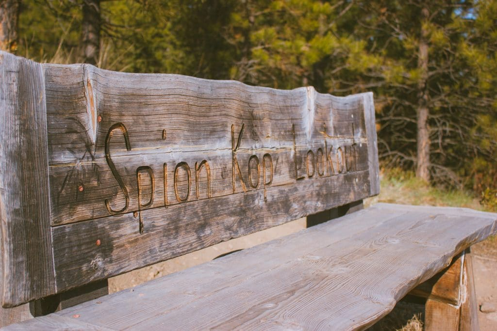 The bench at the Grand Overlook Junction at Spion Kop