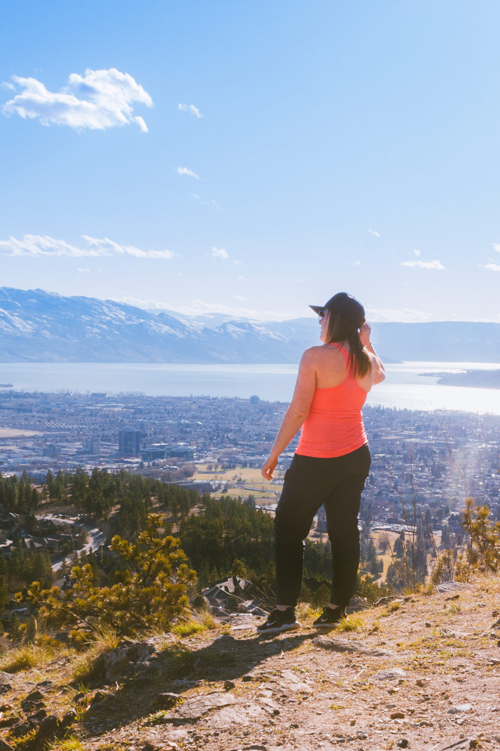 View of Kelowna from the easy hiking trails at Dilworth Mountain Water Tower
