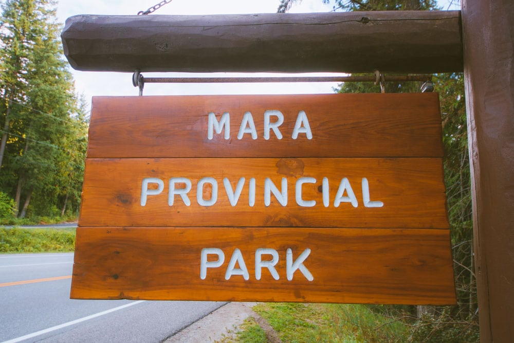 Sign for Mara Provincial Park on the side of Highway 97