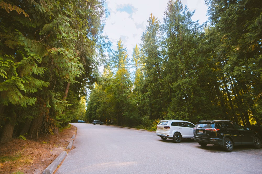 The large parking lot at Mara Provincial Park in BC
