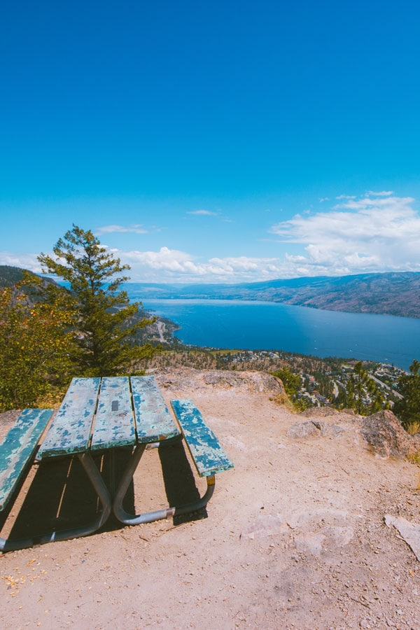 Picnic table at the summit of Pincushion Mountain in Peachland
