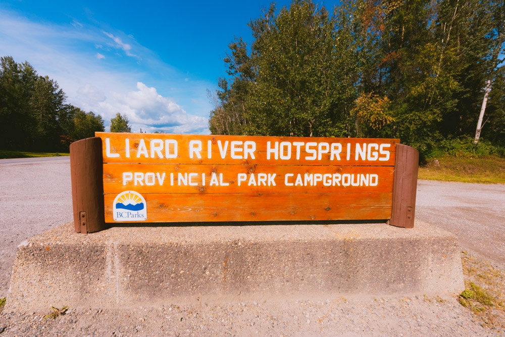 The Liard River Provincial Park sign on Highway 97