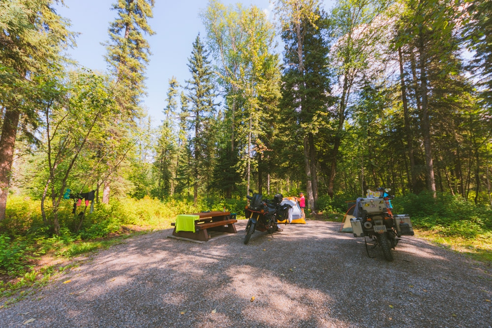 Liard River Hot Springs campground in the summer