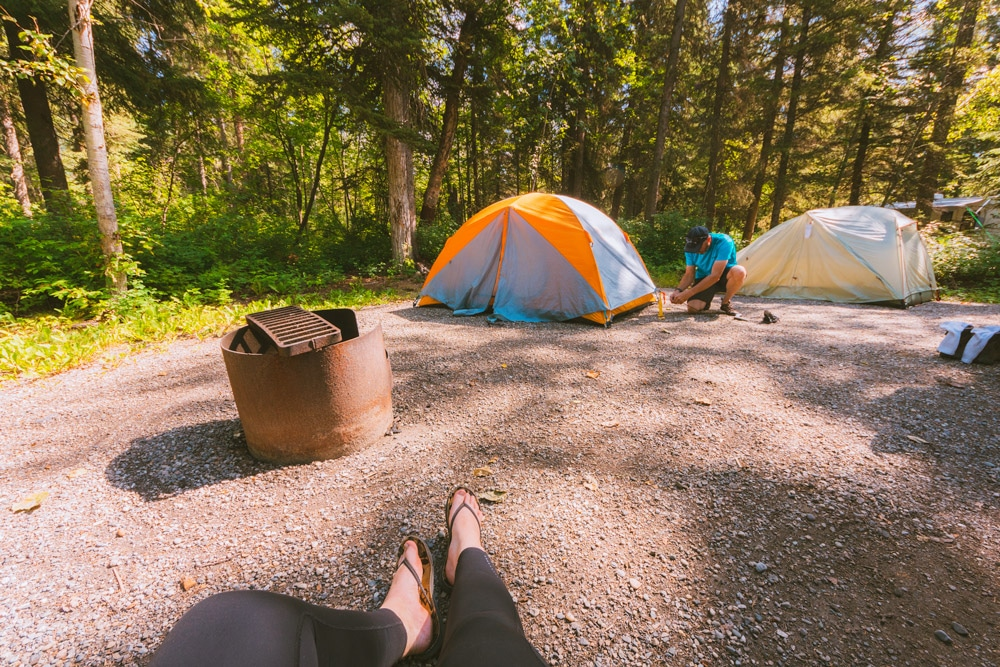 Relaxing in the Liard River Hot Springs campground while setting up camp
