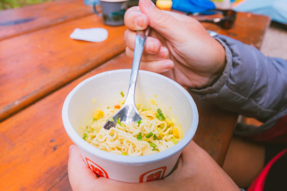 Mr Noodles dinner while camping