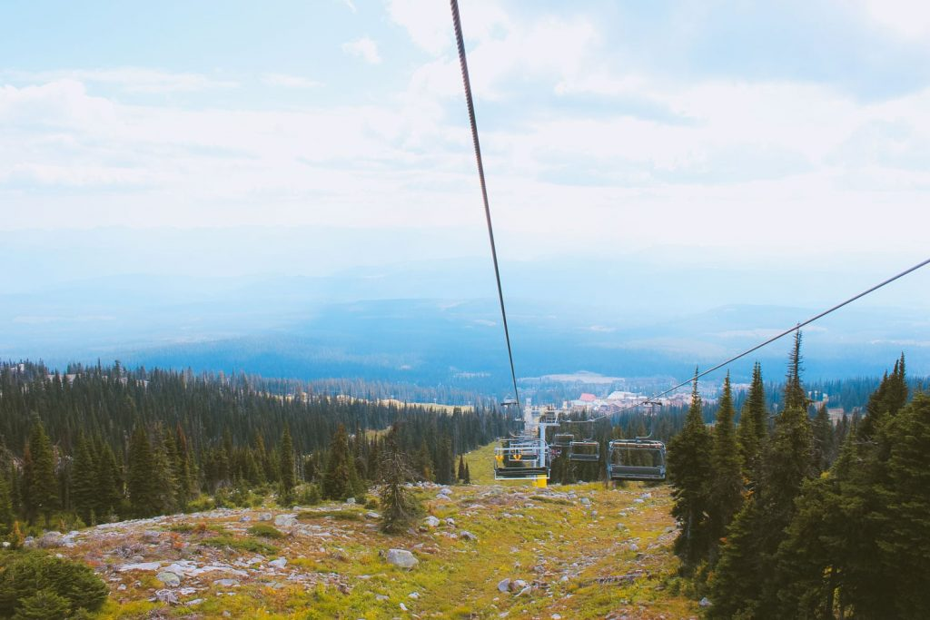 Riding the ski lift at Big White.