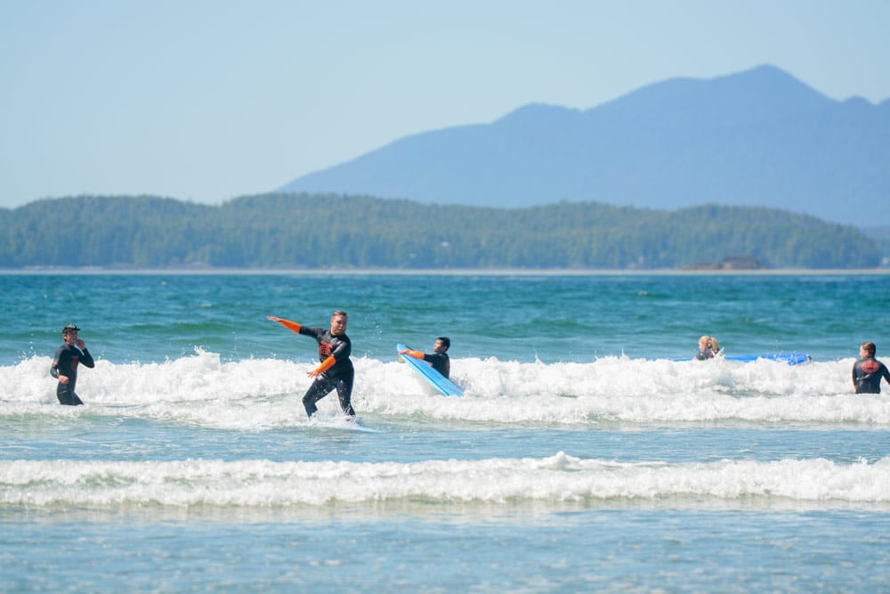 Jacob surfing in Tofino