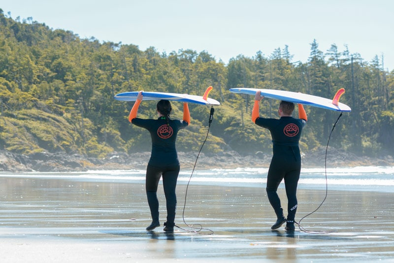 Two people carrying surfboards on their head on the beach