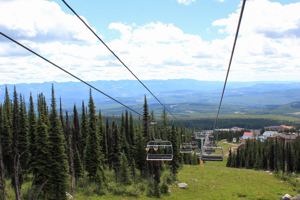 A ski lift at Big White in the summer.