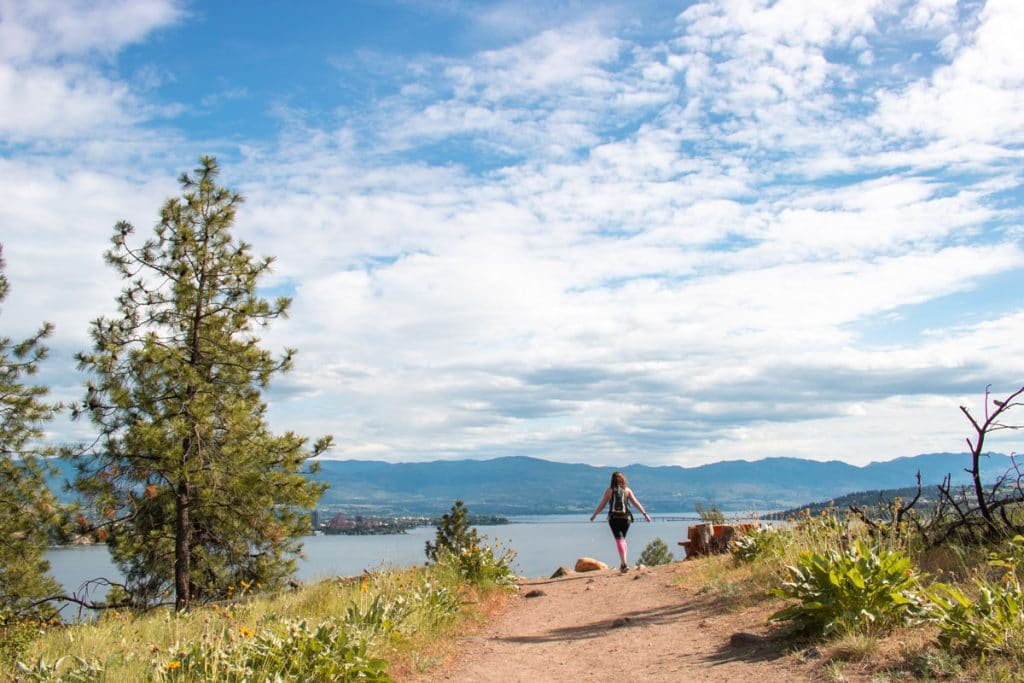View towards Kelowna from a hiking trail on the Okanagan Bucket list