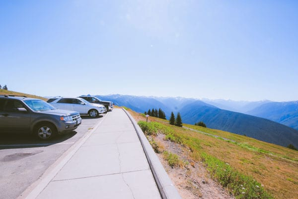 The parking lot at Hurricane Ridge that overlooks a stunning panoramic view of the Olympic Mountains.
