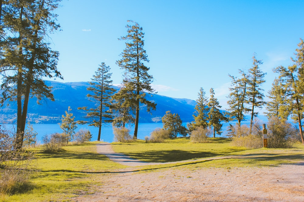 The park at Paul's Tomb looking over Okanagan Lake.