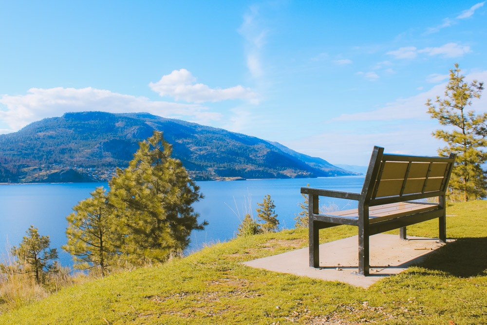 Bench on Paul's Tomb trail overlooks Okanagan Lake