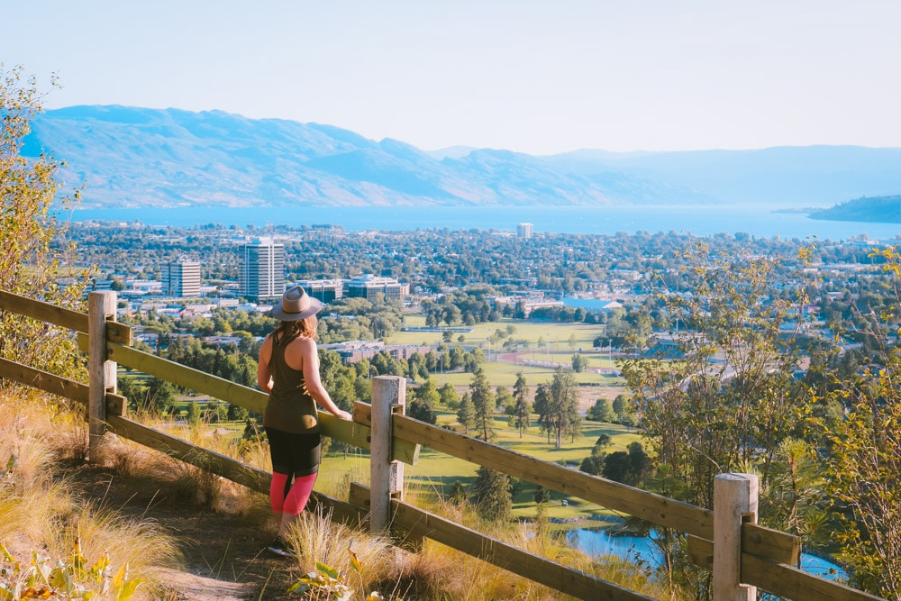 Girl overlooking Kelowna from Dilworth Mountain Park