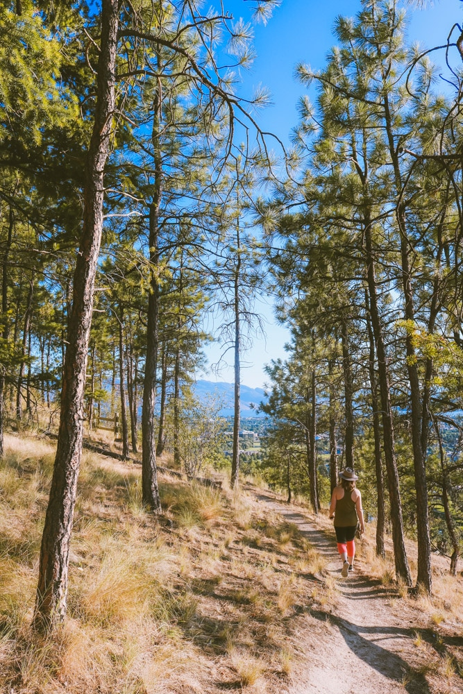 Girl walking along a forested hiking trail at Dilworth Mountain Park in Kelowna