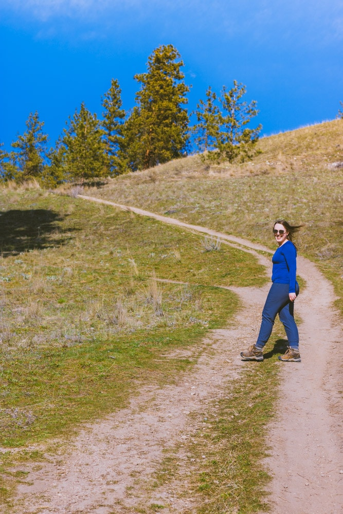 Hiking up a hill at Mt Baldy in Kelowna