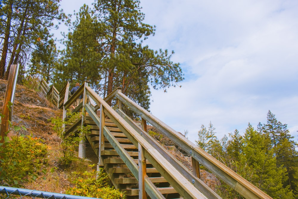 Wooden staircase on the Canyon Rim Trail in Kelowna.