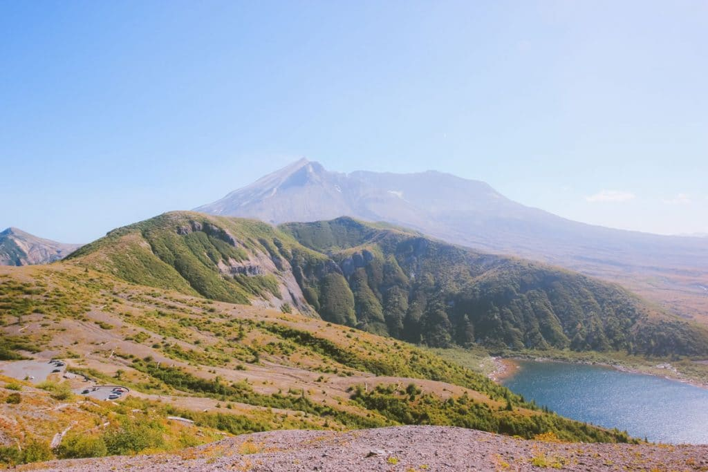 View of Mt St Helens' blast crater and the returning plant life.