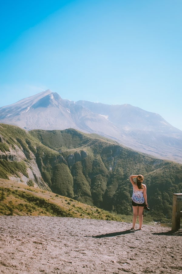 Sam holds her hair in place as she looks at Mt St Helens.