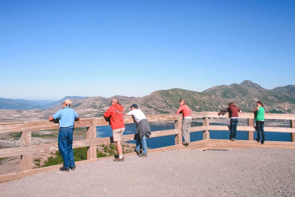 The observation platform at the top of Windy Ridge Viewpoint with views of Spirit Lake.