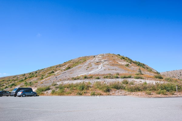 A wide shot of the hill the sandladder is on at at Windy Ridge, Mt St Helens, Washington.