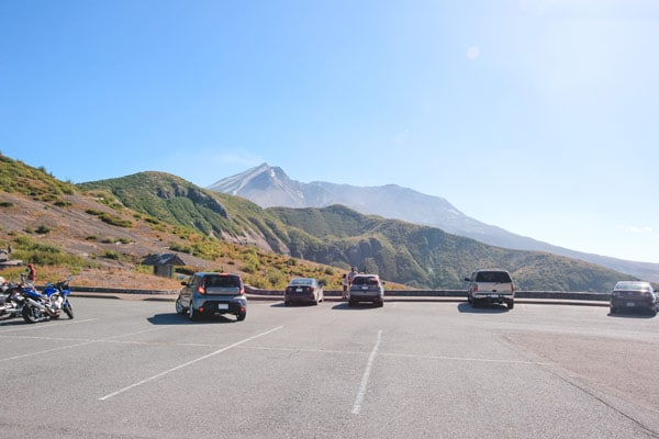 The Windy Ridge parking lot with Mt St Helens in the background