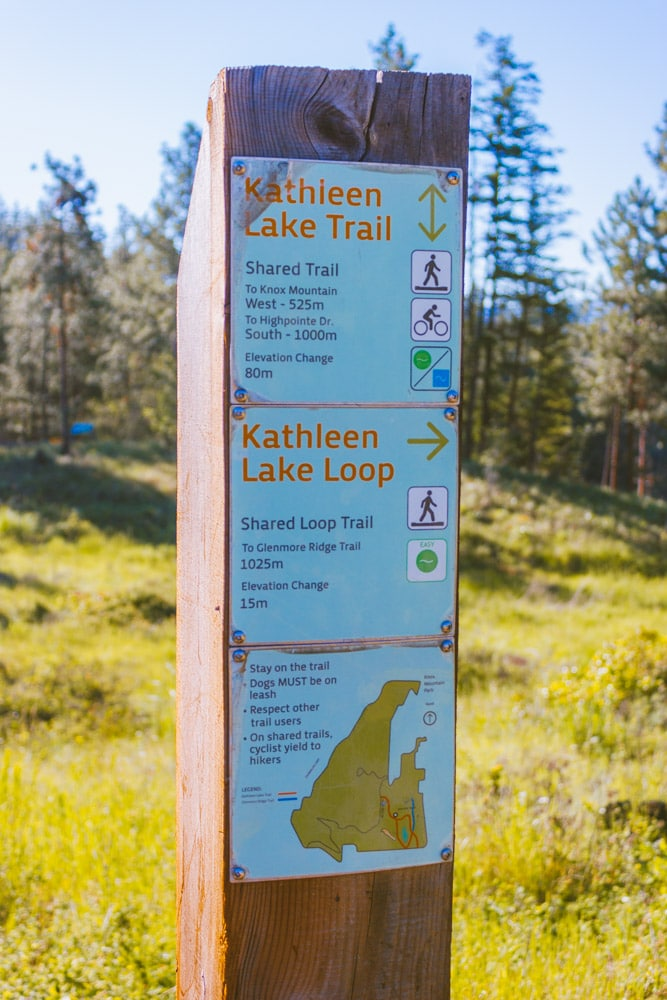 Hiking sign on the trails of Kathleen Lake