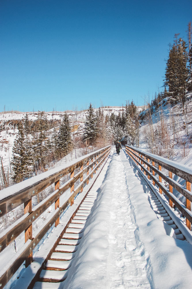 A snow covered trestle at Myra Canyon