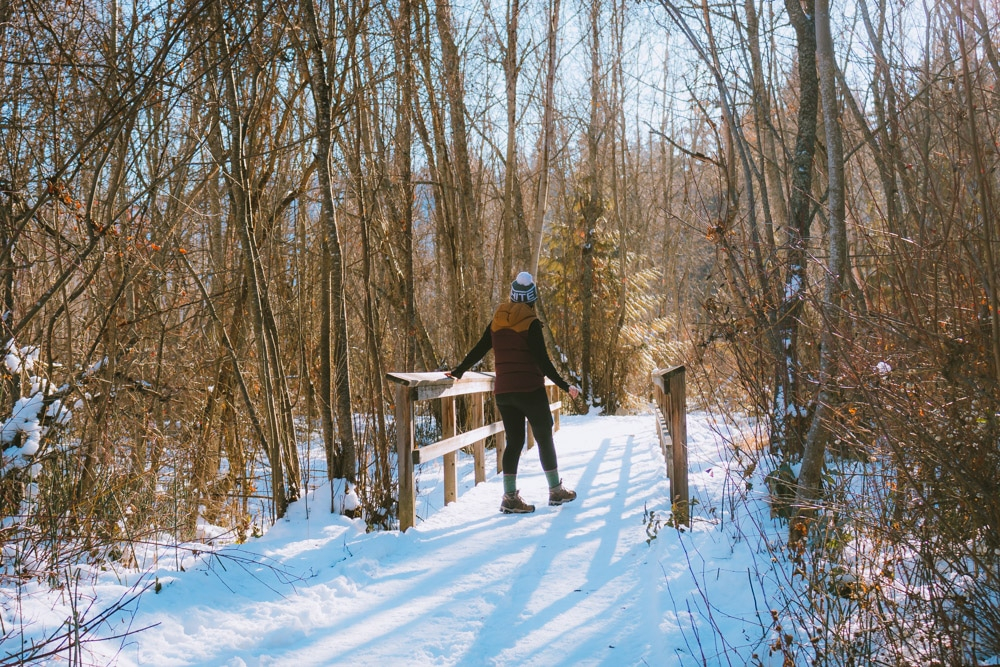 Woman walks down a snow covered trail