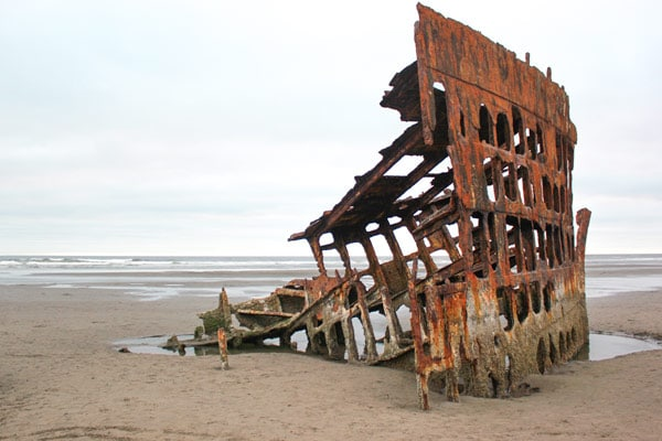 The skeleton of the Wreck of the Peter Iredale.
