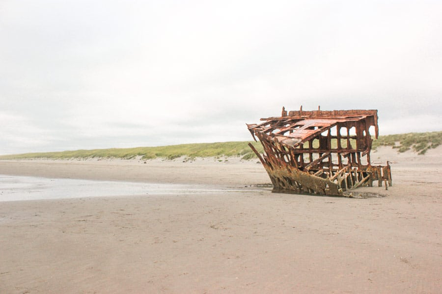 The Wreck of the Peter Iredale on Clatsop Beach, Oregon.