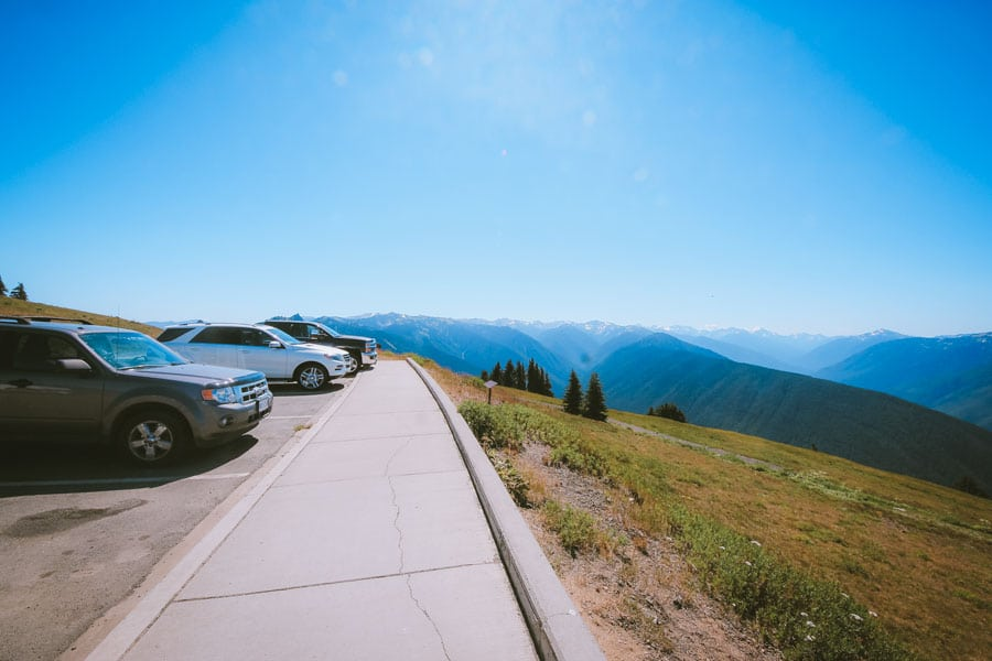The parking lot at the Hurricane Ridge Visitor Center. Overlooks the gorgeous Olympic Mountain range.