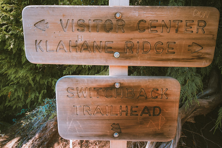 A sign at the fork of the Switchback Trail and the Hurricane Ridge Visitor Center trail.