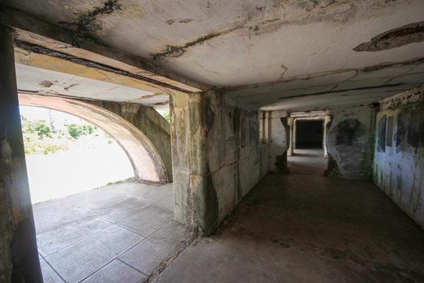View of the lower inner rooms at Battery Russell at Fort Stevens, Oregon.