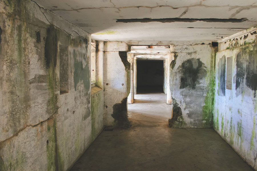 The lower level of Battery Russell, looking down the corridor.