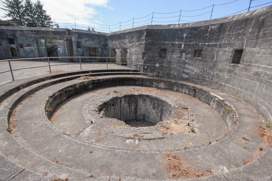 The gun pit at Battery Russell in Fort Stevens State Park, Oregon.