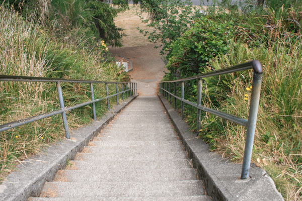 The staircase at the entrance to Battery Russell at Fort Stevens State Park, Oregon.