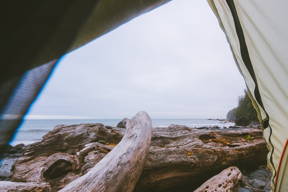 View from inside a tent, looking towards the Pacific Ocean