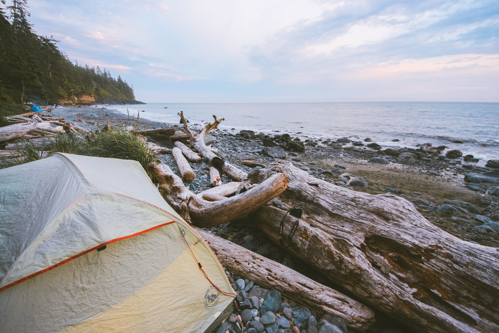 A tent on the shores of Mystic Beach on Vancouver Island