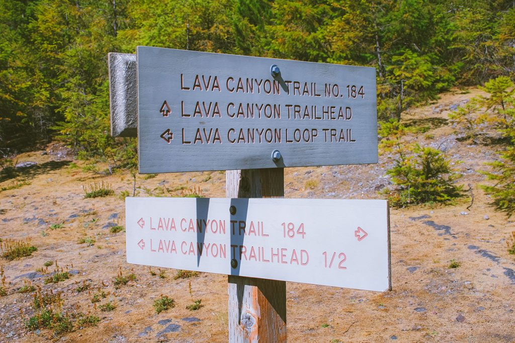 Sign on the Lava Canyon trail